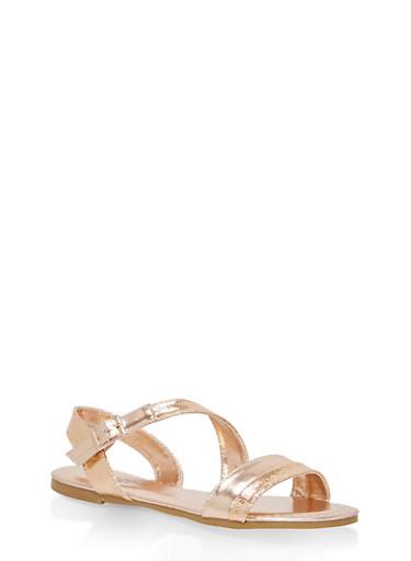 Girls 12-4 Shimmer Strap Sandals,GOLD S,large