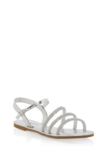 Girls 11-4 Metallic Rhinestone Strap Sandals,SILVER,large