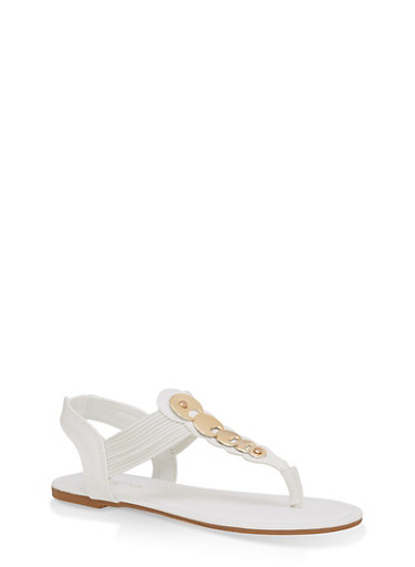 Girls 11-4 Metallic Accent Thong Sandals,WHITE,large