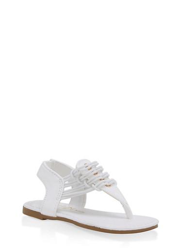 Girls 5-10 Elastic Band Sandals,WHITE,large