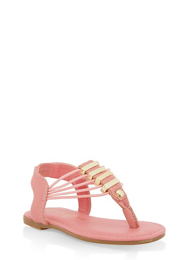 Girls 5-10 Elastic Strap Metallic Detail Sandals,CORAL,large