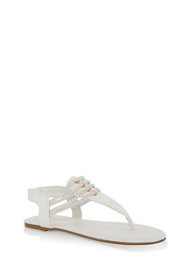 Girls 11-4 Elastic Strap Sandals,WHITE,large
