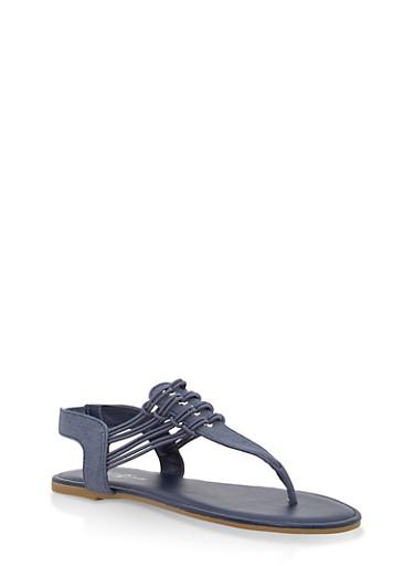 Girls 11-4 Elastic Strap Thong Sandals,DENIM,large