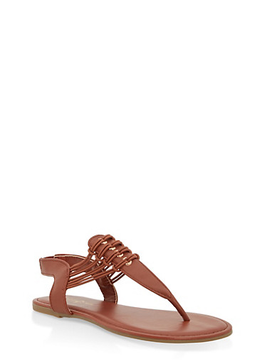 Girls 11-4 Elastic Strap Thong Sandals,CHESTNUT,large