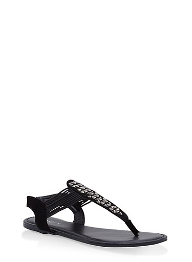 Girls 11-4 Studded Thong Sandals,BLACK,large