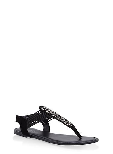 Girls 11-4 Studded Thong Sandals,BLACK,large