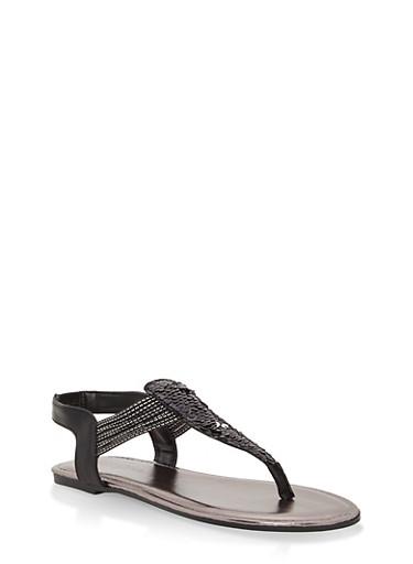 Girls 12-4 Sequin Thong Sandals,BLACK,large