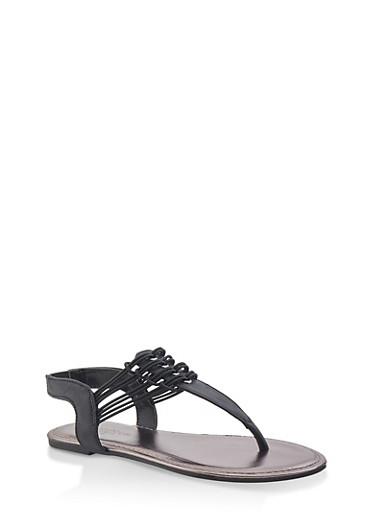 Girls 11-4 Elastic Strap Thong Sandals | 1737014060066,BLACK,large