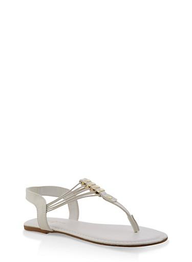 Girls 11-4 Metallic Detail Thong Sandals,WHITE,large