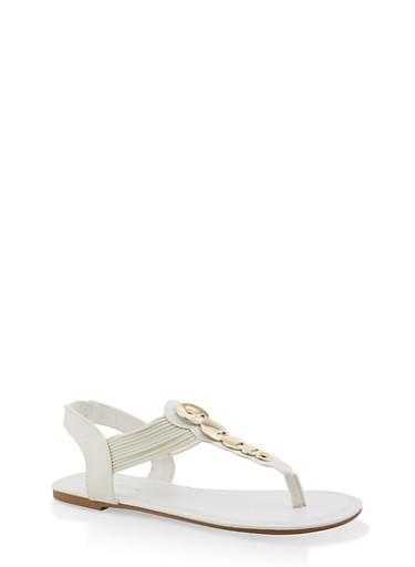 Girls 11-4 Metallic Circle Detail Thong Sandals,WHITE,large