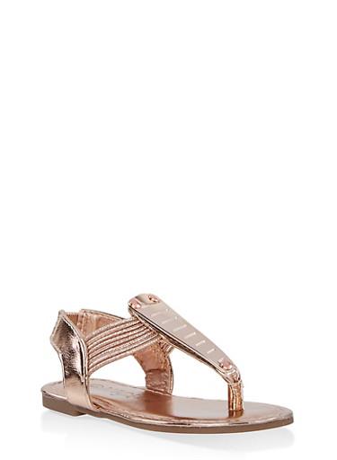 Girls 5-10 Metallic Detail Sandals | 1737014060070,ROSE,large