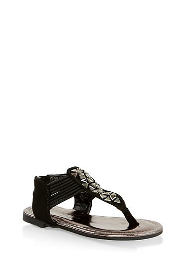 Girls 5-10 Cracked Rhinestone Detail Thong Sandals,BLACK,large
