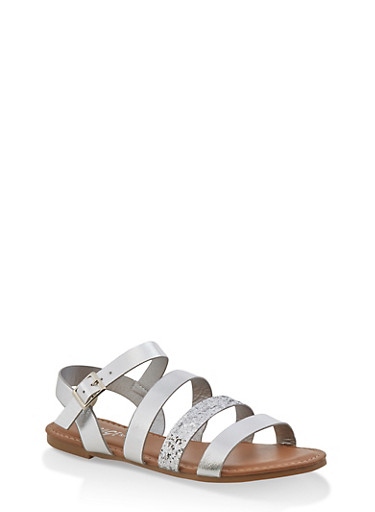 Girls 12-4 Glitter Multi Strap Sandals,SILVER,large
