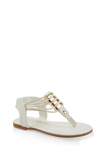 Girls 5-10 Metallic Detail Sandals,WHITE,large