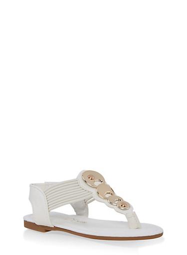 Girls 5-10 Metallic Circle Detail Thong Sandals,WHITE,large