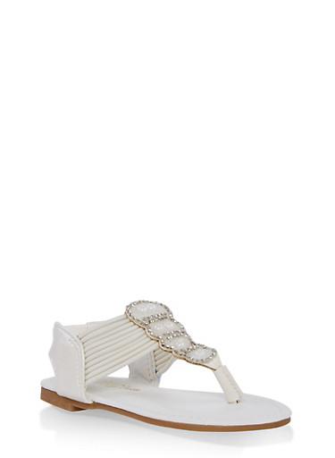 Girls 5-10 Strappy Rhinestone Sandals,WHITE,large