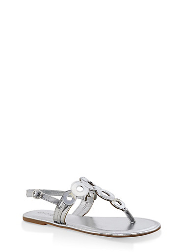 Girls 11-4 Circle Strap Thong Sandals,SILVER,large