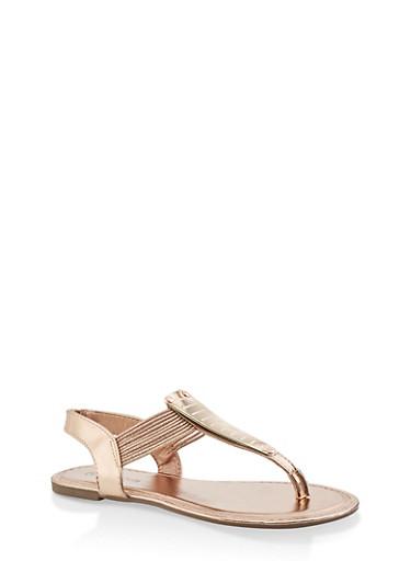 Girls 11-4 Strappy Metallic Thong Sandals,ROSE,large