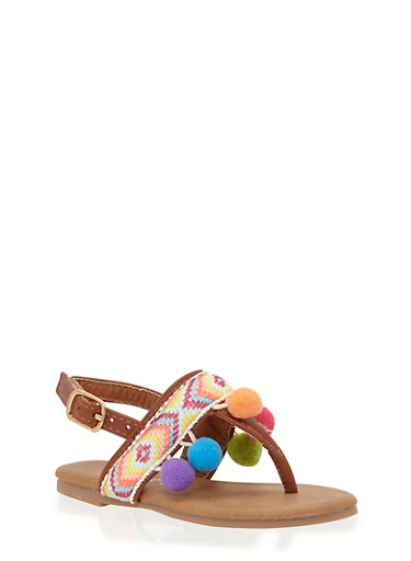 Girls 5-10 Tribal Thong Sandals with Pom Pom Trim,CHESTNUT,large