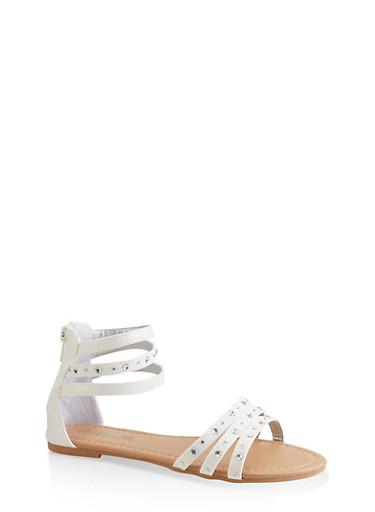 Girls 11-4 Rhinestone Studded Sandals,WHITE,large
