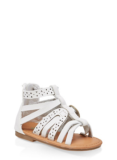Girls 5-10 Strappy Laser Cut Sandals,WHITE,large