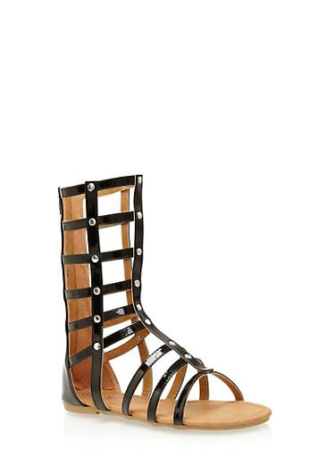Girls 11-4 Tall Studded Gladiator Sandals,BLACK,large