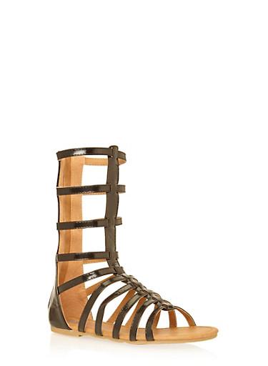 Girls 11-4 Tall Strappy Gladiator Sandals,BLACK,large