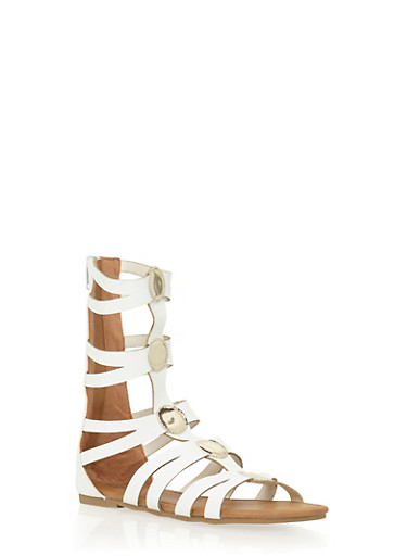 Girls 11-4 Tall Gladiator Sandals with Metallic Accents,WHITE,large