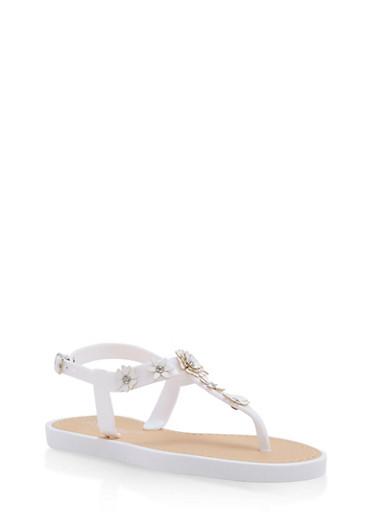 Girls 12-4 Flower Studded Jelly T Strap Sandals,WHITE,large