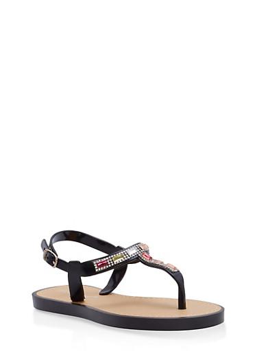 Girls 12-4 Rhinestone Jelly T Strap Sandals,BLACK,large