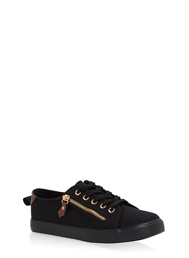 Girls 12-4 Side Zip Lace Up Sneakers,BLACK,large
