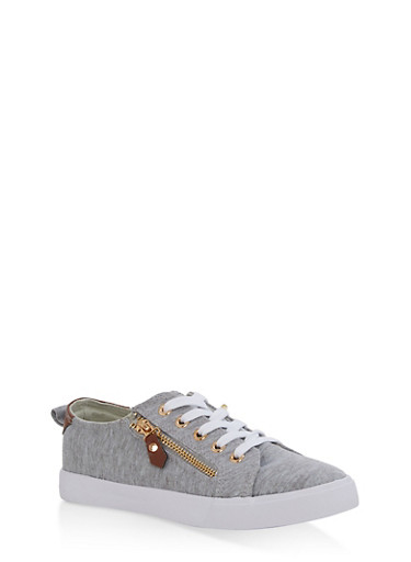 Girls 12-4 Side Zip Lace Up Sneakers,HEATHER,large