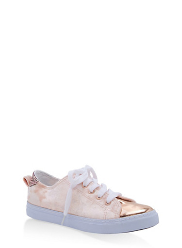 Girls 11-4 Crushed Velvet Lace Up Sneakers,BLUSH,large