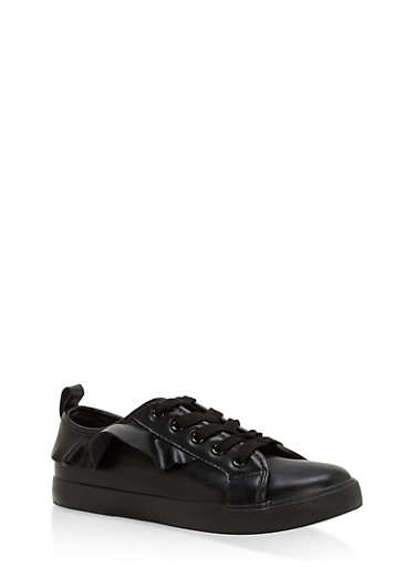 Girls 12-4 Ruffled Faux Leather Sneakers,BLACK,large