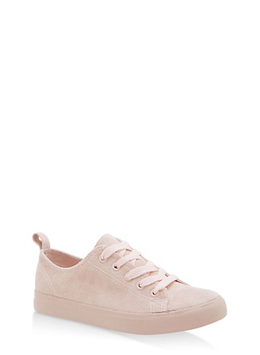 Girls 11-4 Faux Suede Lace Up Sneakers,BLUSH,large