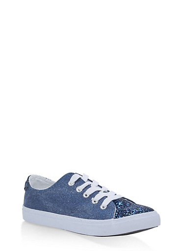 Girls 12-4 Glitter Canvas Lace Up Sneakers,DARK WASH,large