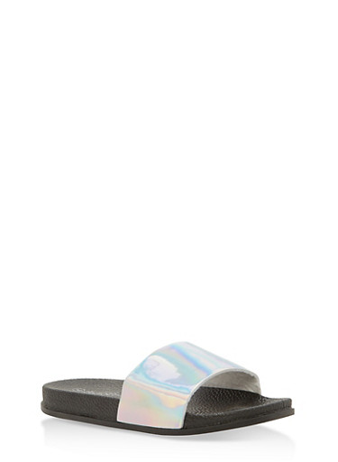 Girls 12-4 Holographic Faux Leather Slides,SILVER,large