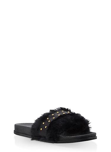 Girls 12-4 Faux Fur Studded Slides,BLACK,large