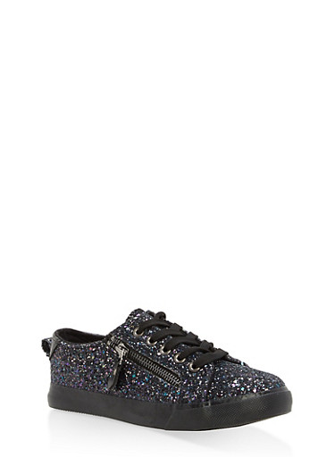 Girls 12-4 Glitter Lace Up Sneakers,BLACK,large