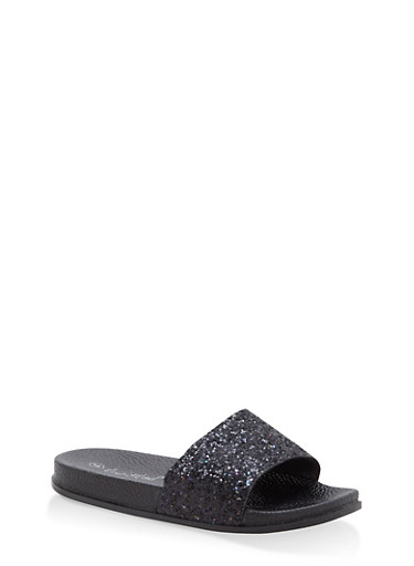 Girls 11-4 Glitter Slides,BLK/BLK,large