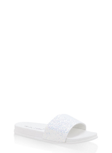 Girls 11-4 Glitter Slides | Tuggl