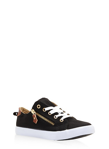Girls 12-4 Zipper Detail Lace Up Sneakers,BLACK,large