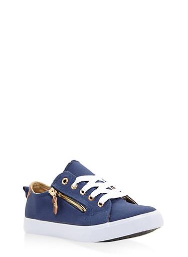 Girls 12-4 Zipper Detail Lace Up Sneakers,DENIM,large