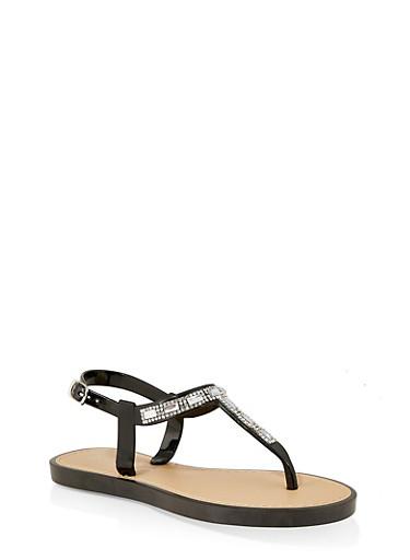 Girls 12-4 Rhinestone Jelly Thong Sandals,BLACK,large