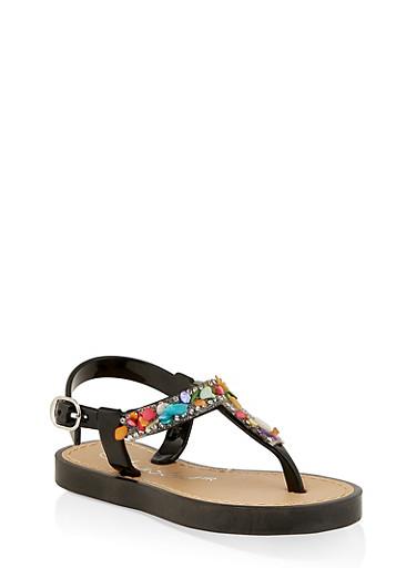 Girls 6-11 Bejeweled T Strap Sandals,BLACK,large