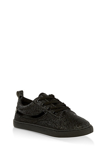 Girls 12-4 Glitter Lace Up Sneakers | 1737062720121,BLACK,large