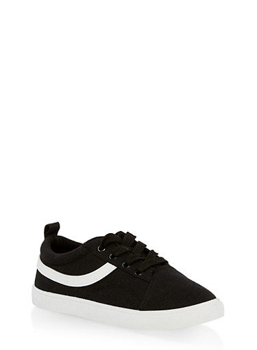 Girls 12-4 Canvas Lace Up Sneakers,BLACK/WHITE,large