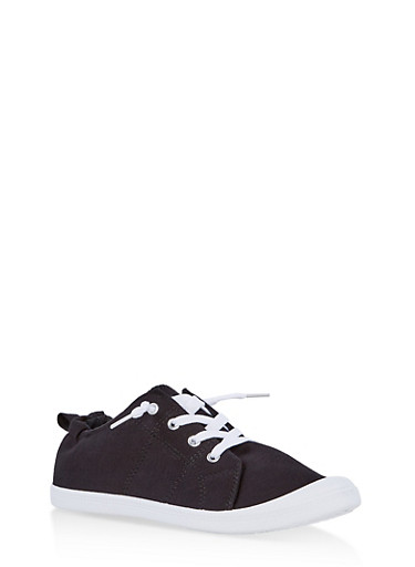Girls 12-4 Cinched Back Lace Up Sneakers,BLACK,large