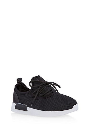 Girls 12-4 Lace Up Knit Sneakers,BLACK,large