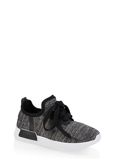 Girls 11-4 Shimmer Knit Sneakers | 1737062720128,BLACK,large